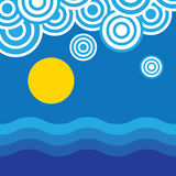 Sun acima das praias azuis bonitas ilustração stock