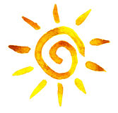 Sun in acquerello Immagini Stock