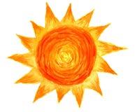 Sun in acquerello Immagine Stock