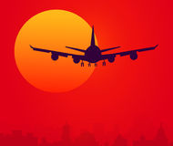 Sun & Air Plane at Sunset time. Stock Images