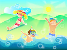 Sun air and water are our best friends. Vector illustration three children swim and sunbathe Royalty Free Stock Photography