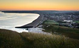 Sun ajustou-se em sete irmãs, Sussex, Inglaterra Foto de Stock