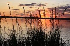 Sun ajustou-se na lagoa Imagens de Stock Royalty Free