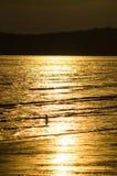 Sun ajustou-se pelo mar Foto de Stock