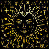 The Sun with alchemy signs Stock Images
