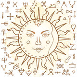 The Sun with alchemy signs Stock Photo