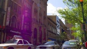 Sun allument la vie dans la rue 4k Pennsylvanie Etats-Unis de ville de Philadelphie de temps de jour banque de vidéos
