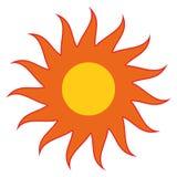 Sun anaranjado con el vector rojo eps10 de los rayos Sol amarillo con los rayos ilustración del vector