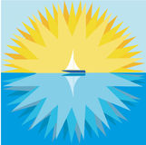 Sun And Sailboat Royalty Free Stock Photos