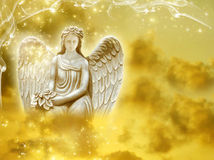 Sun angel. With sunrise cloudy sky Royalty Free Stock Photography