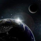 Sun-Anstieg auf Planetenerde Stockfotografie