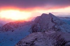Sun-Anstieg Snowdon 2010 Stockfotografie