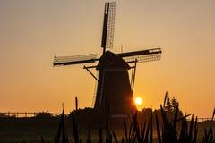 Sun aparece atrás de um moinho de vento na névoa da manhã imagem de stock royalty free