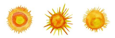 Sun-Aquarellikonen eingestellt Lizenzfreie Stockfotografie