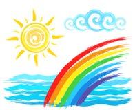 Sun, arcobaleno e mare, disegno di spazzola artistico Fotografia Stock