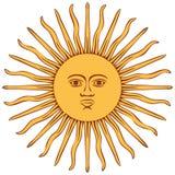 Sun of Argentina flag. On white Stock Image