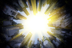 Sun around circle of modern city Royalty Free Stock Photo