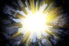 Sun around circle of modern city royalty free stock photo