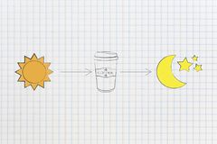 Sun with arrow coffee tumbler and moon icons concept of producti. Caffeine and energy conceptual illustration: sun with arrow coffee tumbler and moon icons stock illustration