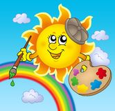 Sun artist with rainbow. Color illustration Royalty Free Stock Photography