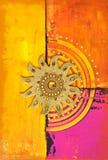 Sun Artwork. Artwork with golden sun symbol stock illustration