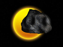 Sun and asteroid Stock Photo