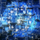 Sun astrology. Artistic astrology illustration with zodiac signs Royalty Free Stock Images