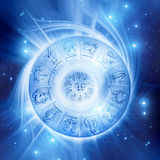 Sun astrology. Astrology plate with zodiac signs Stock Photos