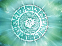 Sun astrology. With zodiac signs with stars and rays of light Royalty Free Stock Photo