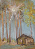 Sun através dos ramos ilustração stock