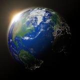 Sun au-dessus de l'Amérique du Nord sur terre de planète Image stock