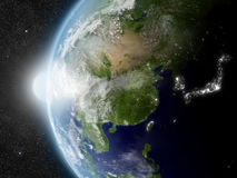 Sun au-dessus de l'Asie de l'Est illustration libre de droits