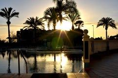 Sun au-dessus de lac en Floride Images libres de droits