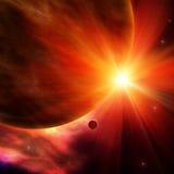 Sun au-dessus de planète Image stock