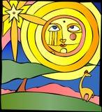 Sun au-dessus des plaines Images libres de droits