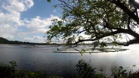 Sun aumenta sobre a estrutura de bambu construída no meio do lago Seguindo o tiro filme