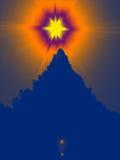 Sun avec l'arbre de fourrure Image stock