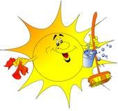 The Sun avec le seau et le chiffon Image libre de droits
