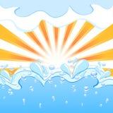 Sun avec les baisses d'ondes et d'eau Image libre de droits