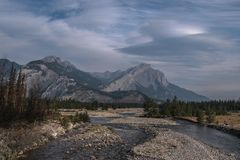 When the sun awakes. Jasper National Park, Canada. Rocky Mountains in the morning Royalty Free Stock Images