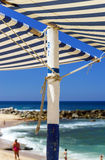 Sun awning on the beach Royalty Free Stock Photography