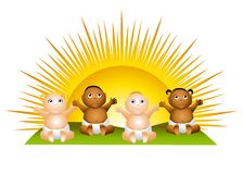 Sun Babies Clip Art. An illustration featuring a bunch of babies sitting in front of a sunrise Stock Photo