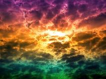 Sun back on colorful heal cloud sunshine on sky. Sun back on colorful heal cloud and sunshine on sky royalty free stock image