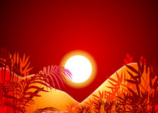 Sun background. A sun background with silhouette of coconut tree royalty free illustration