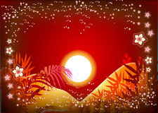 Sun background. A sun background with silhouette of coconut tree stock illustration