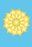 Sun;abstraction of blue sky. The sun on the background of blue sky in the form of a flower Stock Photo