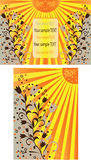 Sun backgrounds. Floral backgrounds in orange/yellow colours with the space for text Stock Photos
