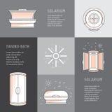 Sun-Bad-Solarium Design der Vektorkarikatur flaches Lizenzfreies Stockbild