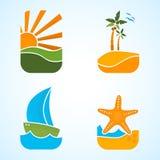 Sun, barca, palma, stella marina, viaggio fotografia stock