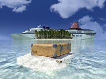 Sun, barco do curso e costa Imagens de Stock